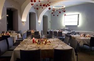 La sala da pranzo dell'hotel
