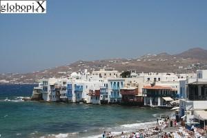 La spiaggia di Mykonos, Grecia.