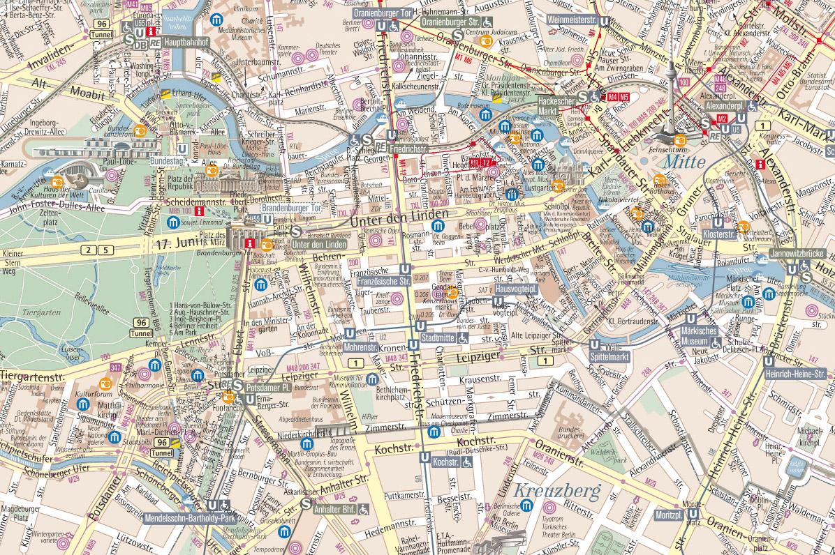 Pianta Muro Berlino : Cartina berlino mappa di mezzi pubblici