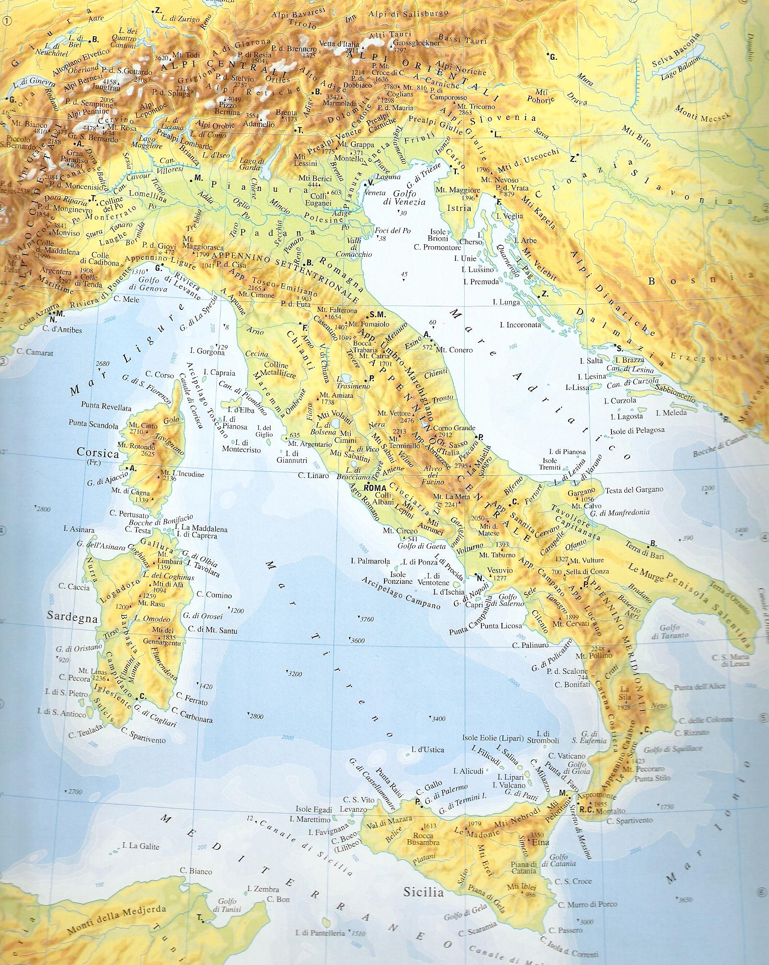 Scarica la cartina fisica dell'italia pronta da stare