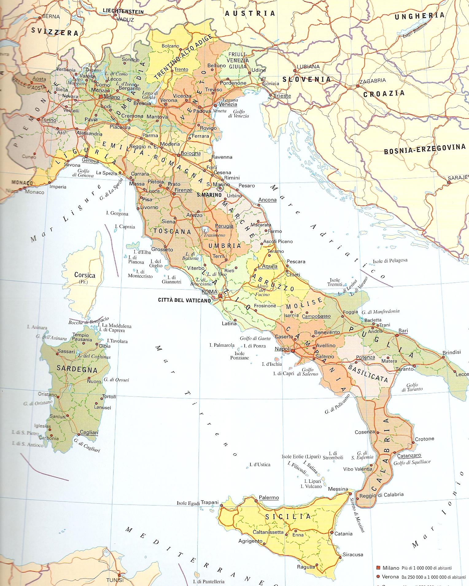 Scarica la cartina politica dell'italia pronta da stare